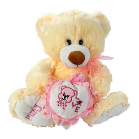 Beżowy Miś maskotka z różową sakwą 32 cm