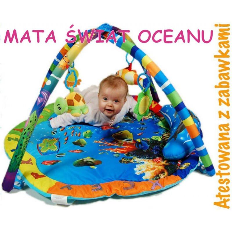 Mata Edukacyjna kojec Świat Oceanu 2w1 + 5 zabawek