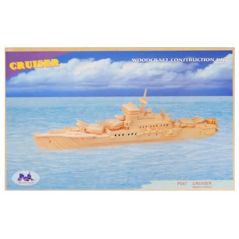 Krążownik okręt drewniane puzzle 3D przestrzenne