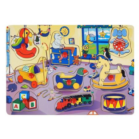 Kształty pokój dziecięcy z zabawkami drewniana układanka