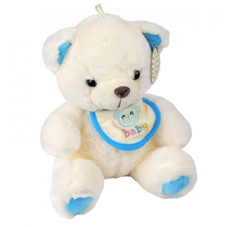 Malutki Miś Dzidziuś z niebieskim śliniaczkiem 23 cm