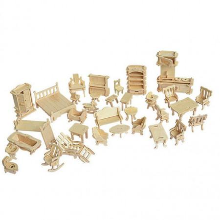 Mebelki do domu lalek drewniane puzzle 3D