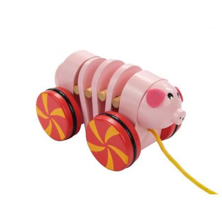 Drewniana różowa świnka, zwierzątko do ciągnięcia