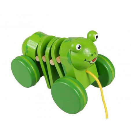 Wesoła zielona żabka, zwierzątko do ciągnięcia