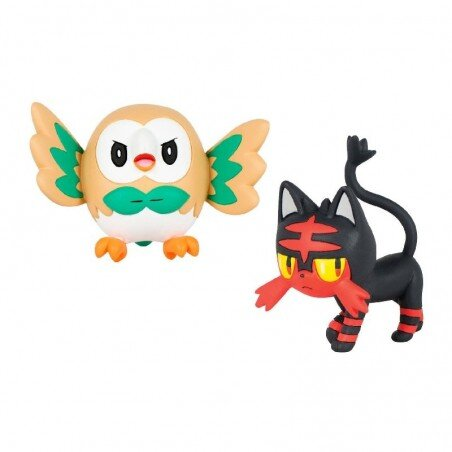 Figurki Pokemon Rowlet vs Litten TOMY