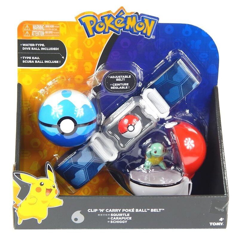 Pas trenera Pokemon z 2 kulami Poke Ball i figurką Squirtle Tomy