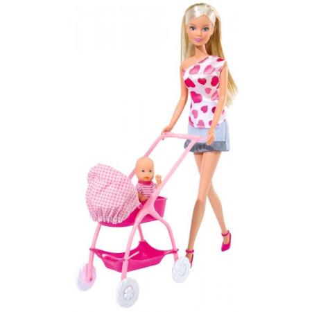 Lalka STEFFI z Dzieckiem, Wózkiem i Łóżeczkiem SIMBA