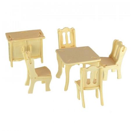Mebelki dla lalek JADALNIA drewniane puzzle 3D