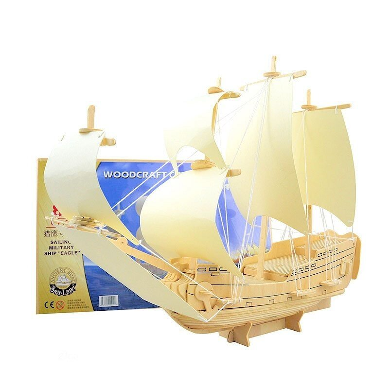 Statek ŻAGLOWIEC ORZEŁ drewniane puzzle 3D