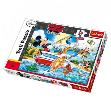 Puzzle MAXI Myszka Miki i przyjaciele na rybach 24 el. Trefl