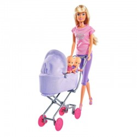 Lalka STEFFI z Wózkiem Dzieckiem i Łóżeczkiem SIMBA
