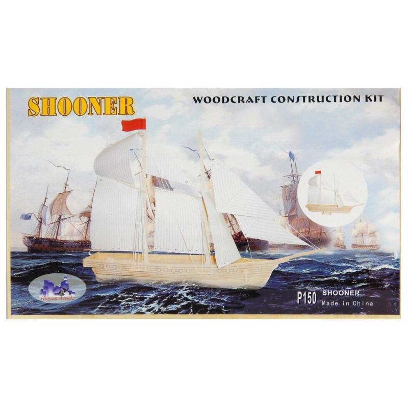 Statek SZKUNER drewniane puzzle 3D przestrzenne