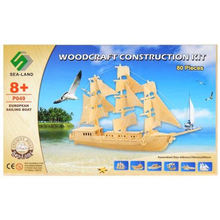 Statek ŻAGLOWIEC drewniane puzzle 3D przestrzenne