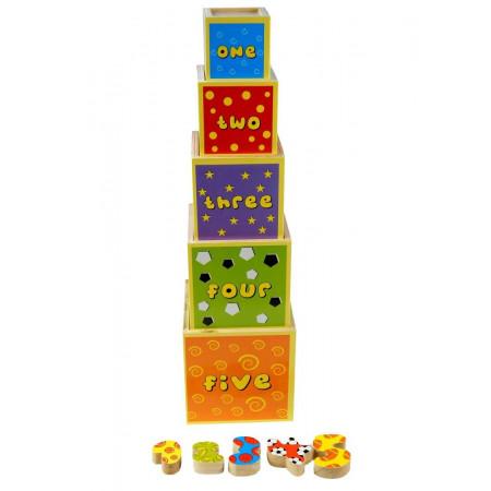 Kolorowa piramida drewniana klocki ze zwierzętami