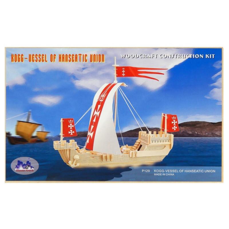 Statek Koga drewniane puzzle 3D przestrzenne