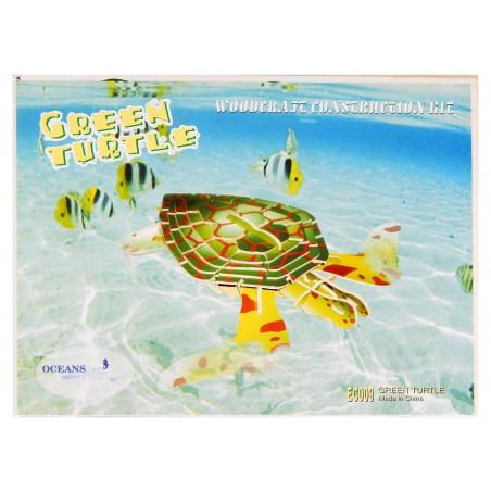 Zielony Żółw drewniane puzzle 3D przestrzenne