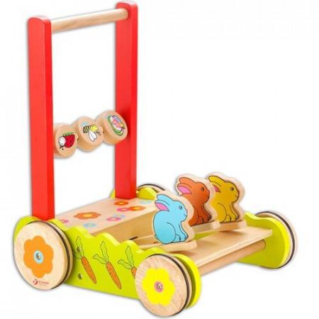 Drewniany wózek do pchania z króliczkami / chodzik Classic World