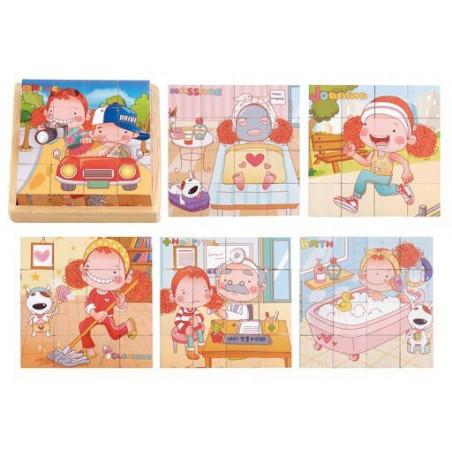 Klocki sześcienne z dziewczynką 6 obrazków do układania
