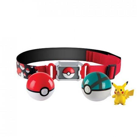 Pas trenera Pokemon z 2 kulami Poke Ball i figurką Pikachu Tomy