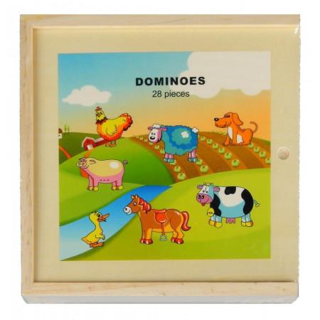 Domino drewniane zwierzątka na farmie 28 elementów