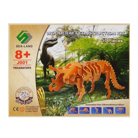 Dinozaur Triceratops drewniane puzzle 3D przestrzenne