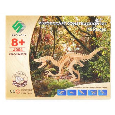 Dinozaur Velociraptor drewniane puzzle 3D przestrzenne