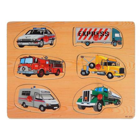 Kształty samochody drewniana układanka