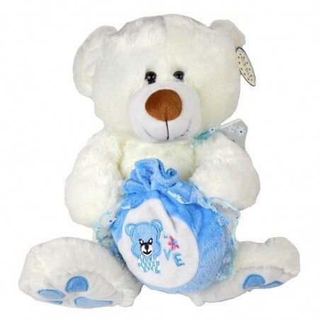 Biały Miś pluszowy z niebieską sakwą 32 cm