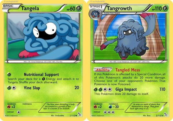 Karty Pokemon Tangela i Tangrowth